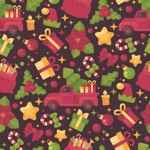 Red and green christmas elements seamless pattern Premium Vector
