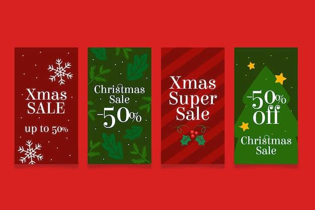 Red and green christmas super sales instagram story Free Vector