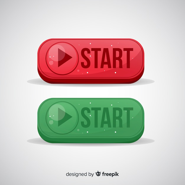 Red and green start button Free Vector