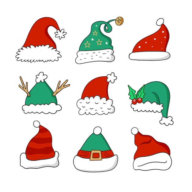 Red and green winter santa's hat hand drawn design Free Vector