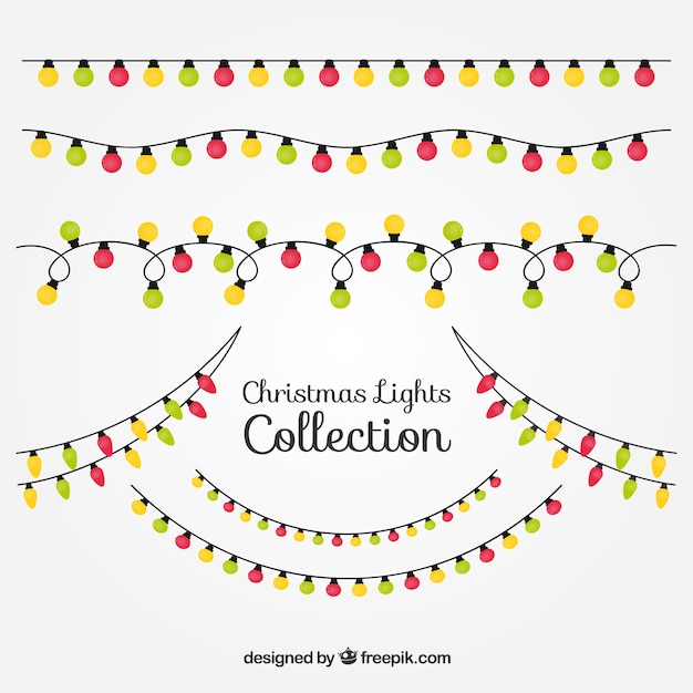 Christmas Lights Vector Free.Red Green And Yellow Christmas Lights Vector Free Download