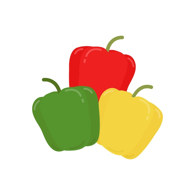 Red green and yellow peppers graphic illustration Free Vector