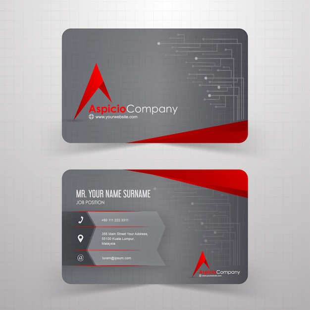 Red and grey abstract business card with technological background Premium Vector