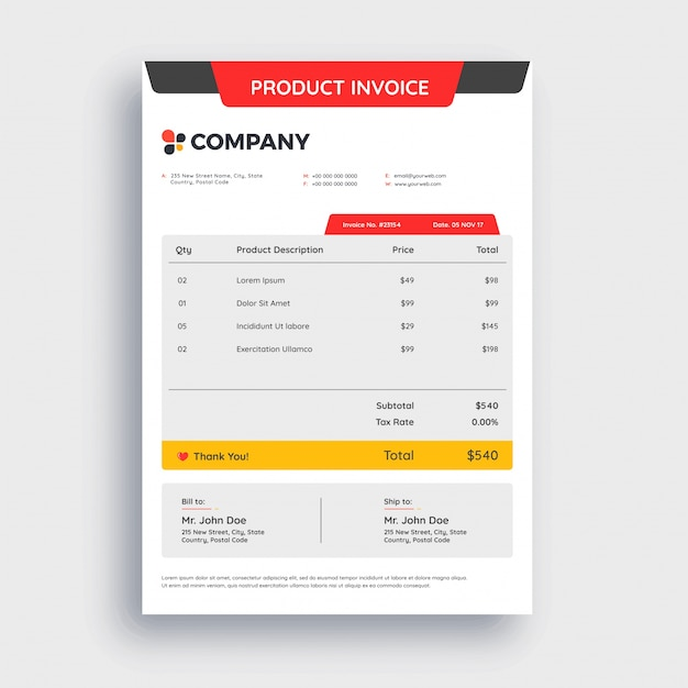 Red Grey And Yellow Abstract Invoice Template Design For Your