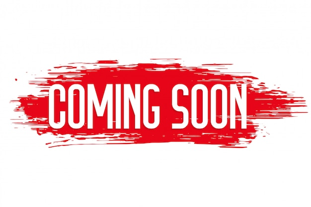 Red grunge style coming soon design Free Vector