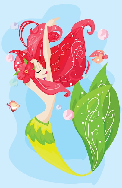 Red hair mermaid on the sea Premium Vector