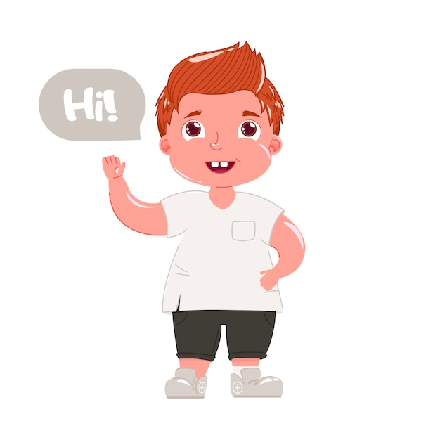 Red haired boy says hi. child in modern clothes greets him politely Free Vector