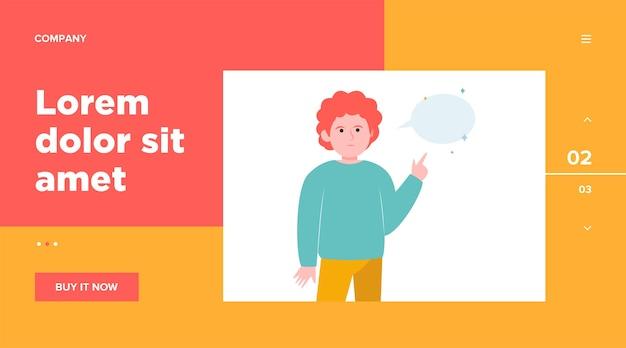 空の吹き出しを指している赤毛の男。指、チャット、ネットワーク。ウェブサイトのデザインやランディングウェブページのコミュニケーションとメッセージのコンセプト 無料ベクター