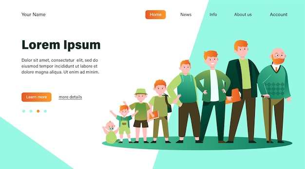 Red-haired man in different age. teenager, infancy, father flat vector illustration. growth cycle and generation concept website design or landing web page Free Vector