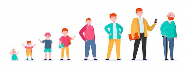 Red-haired man in different age Free Vector