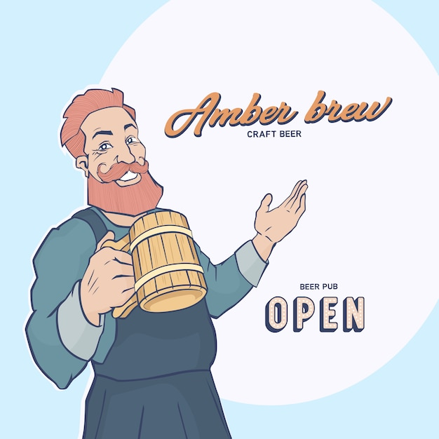 Red-haired man with a big beard and mustache holds a mug of beer and smiles. Premium Vector