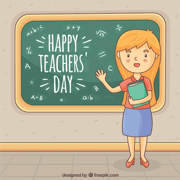Red-haired teacher by the chalkboard
