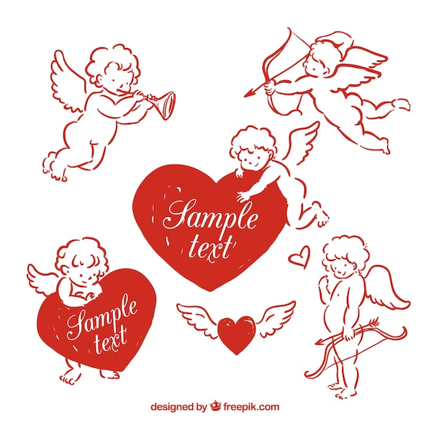Red hand drawn cupids Free Vector