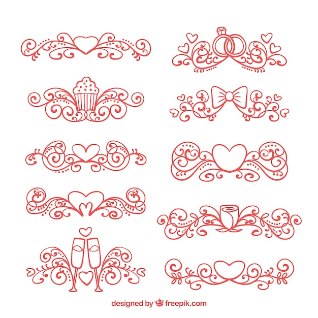 Red hand drawn wedding ornaments Free Vector