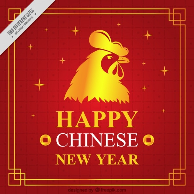 Red happy chinese new year background with a golden rooster