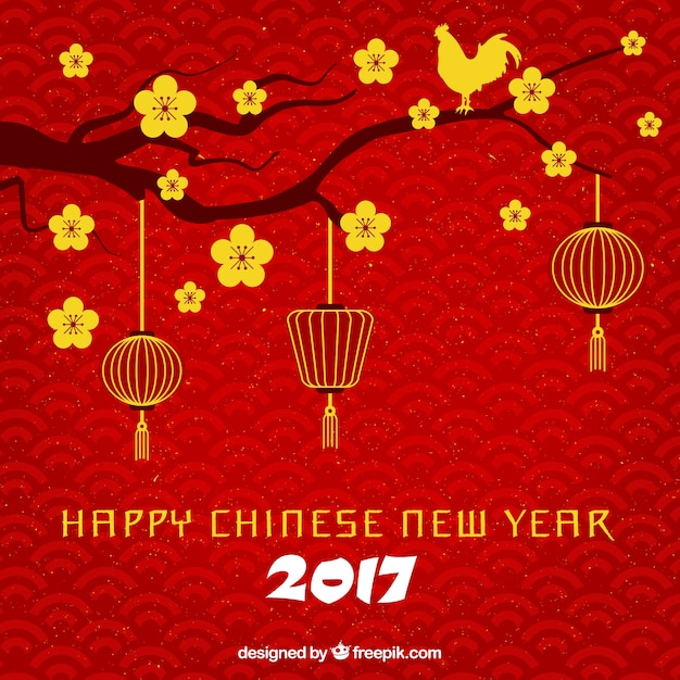 Red happy chinese new year background with\ branch and golden flowers