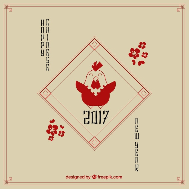 Red happy chinese new year background with nice\ golden rooster