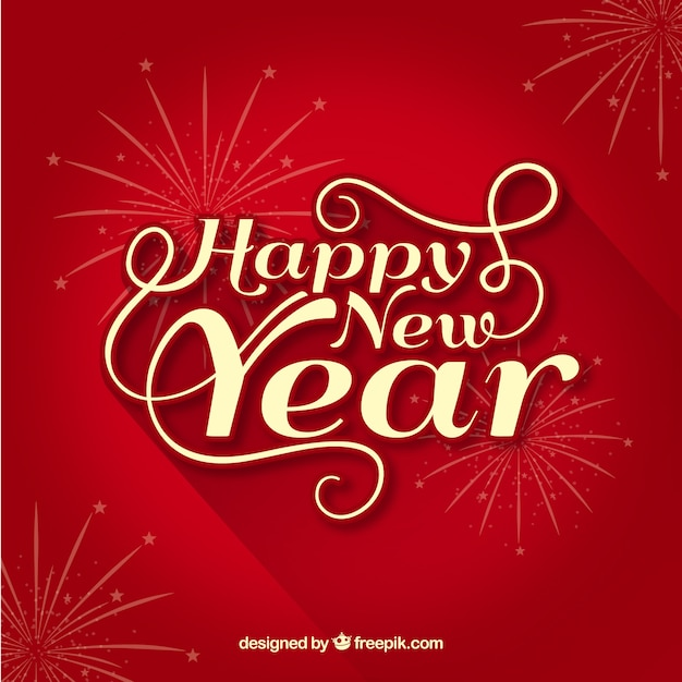 red happy new year background free vector