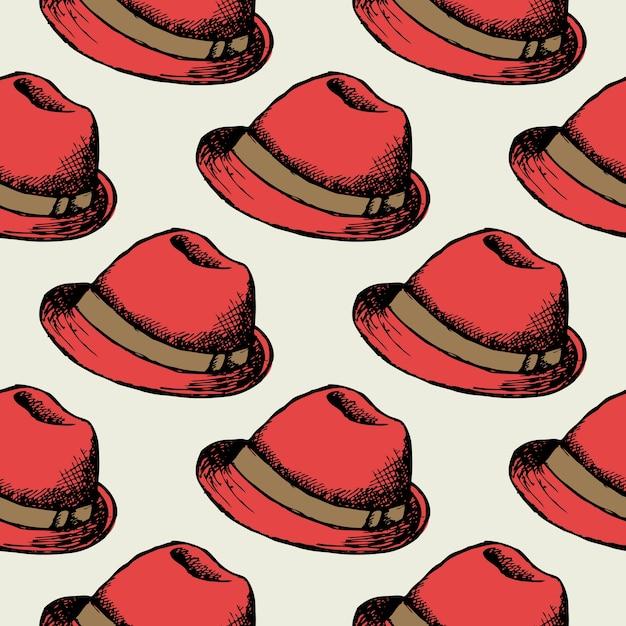 Красная шляпа ретро бесшовный фон. украшение обоев хипстерской кепки. Бесплатные векторы