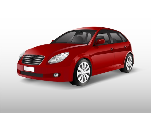 Red hatchback car isolated on white vector Free Vector