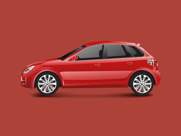 Red hatchback car in a red background vector Free Vector