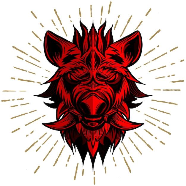 Red head of boar Premium Vector