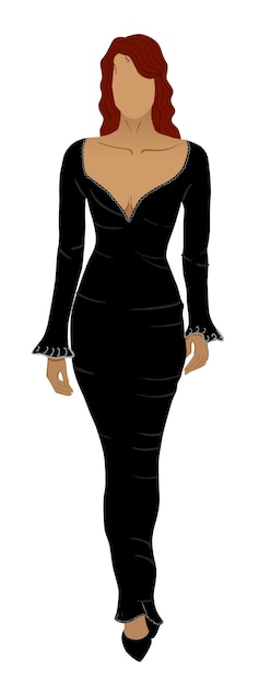 Red head woman with no face in long black dress and low shoes Free Vector
