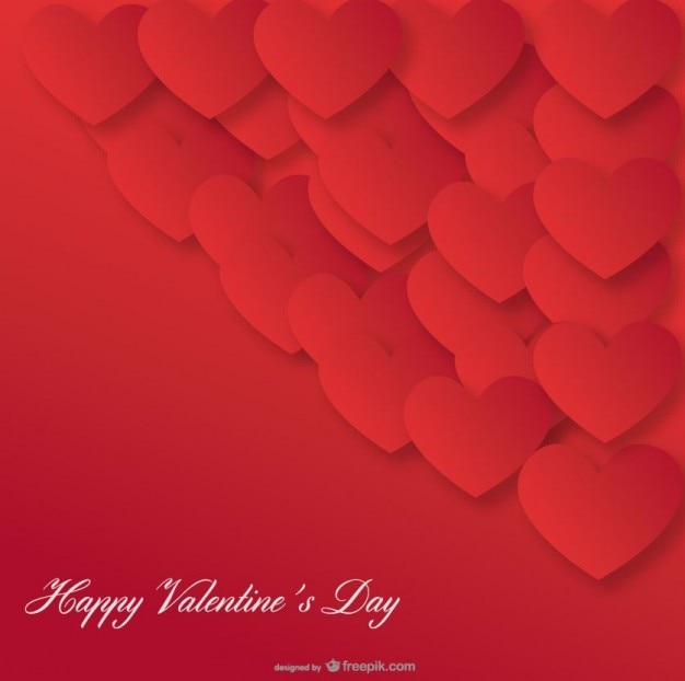 Red Heart Background Valentine's Day Card Design Vector | Free ...