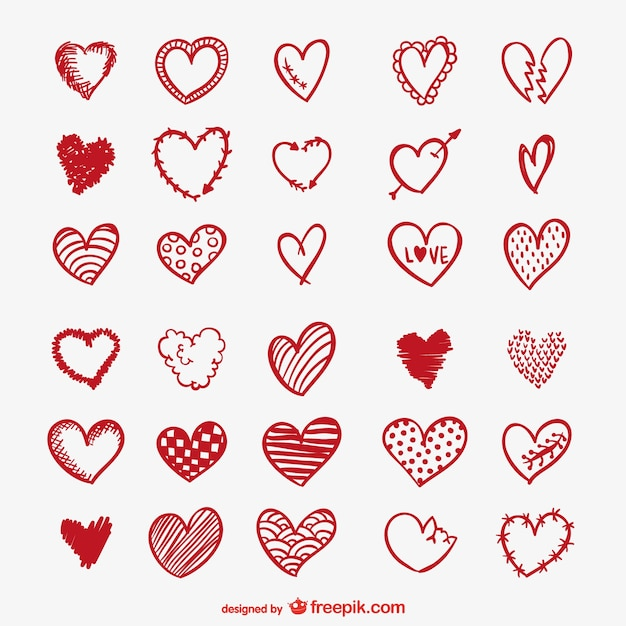 Red heart drawings Free Vector