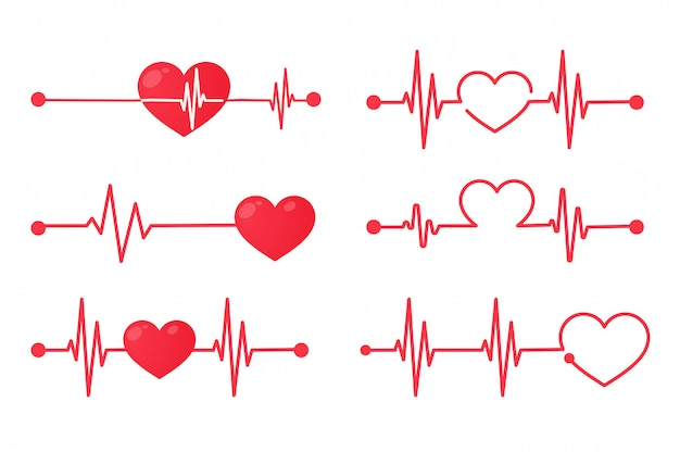 Red heart rate graph when exercising. concept of saving the patient's life. isolate on white background. Premium Vector