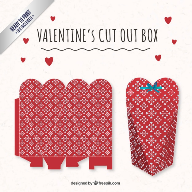 Red heart valentines day box Free Vector