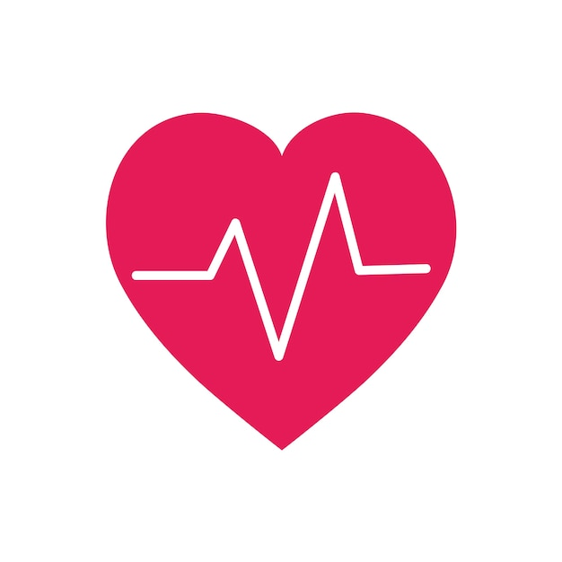 Red heartbeat symbol graphic illustration Free Vector