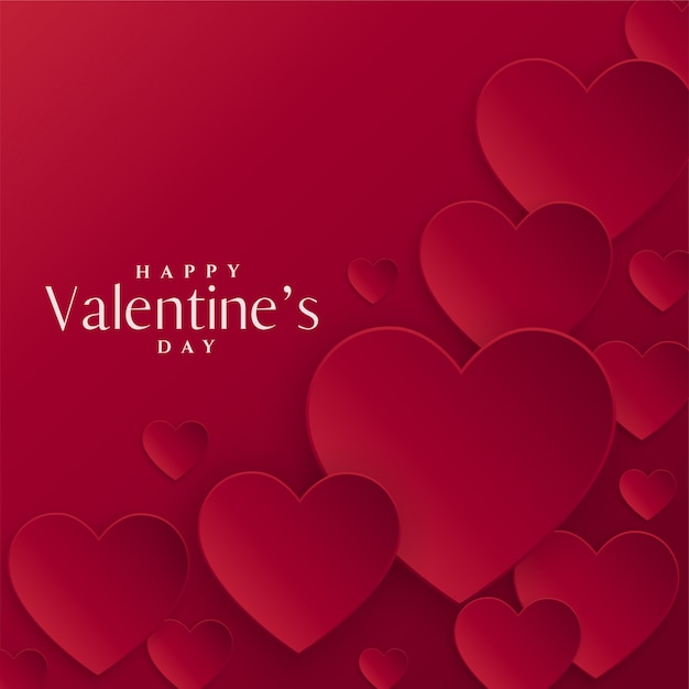 Red hearts background for valentines day Free Vector