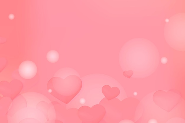Red hearts and bubbles background Free Vector