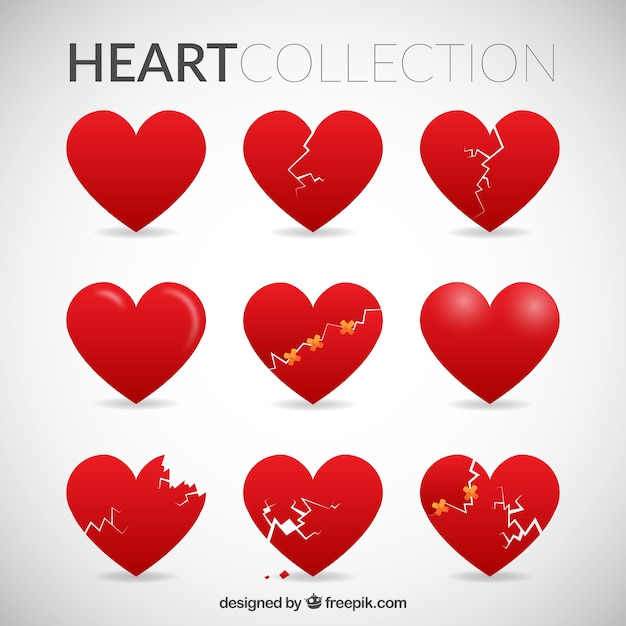 Red hearts collection Free Vector