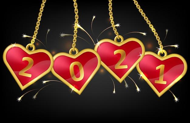 Красные сердечки на цепочке с номером 2021 Бесплатные векторы