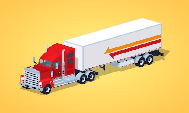 Red heavy american truck with the trailer Premium Vector