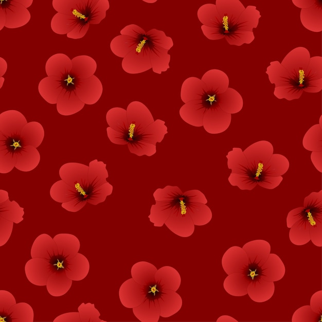 Red Hibiscus Syriacus Rose Of Sharon On Red Background Vector