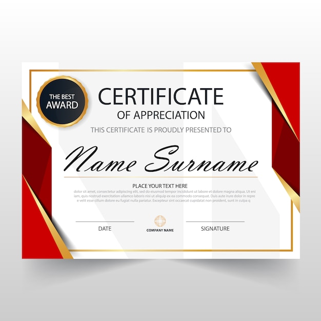 Red horizontal certificate template vector free download for Certificate template download
