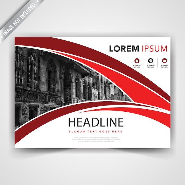 Red horizontal wavy leaflet template Free Vector