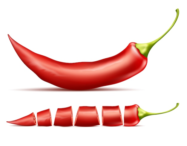 Red hot chili pepper, whole and sliced, isolated on background. Free Vector