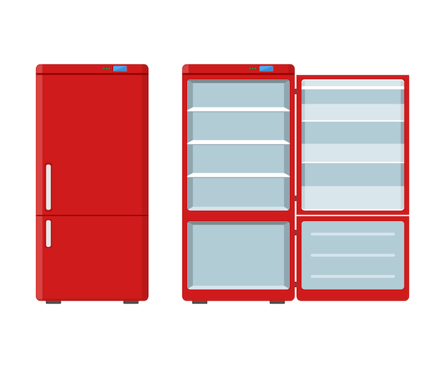 Red household appliances fridge open and closed isolated on white Premium Vector