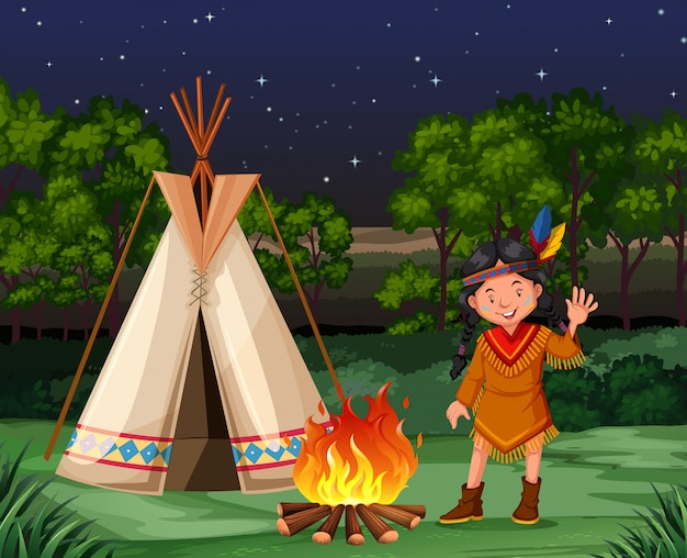 Red indian at the campfire Free Vector