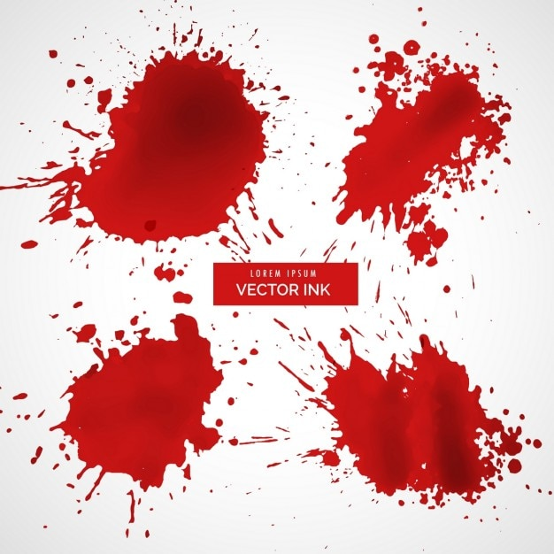 Red ink splashes Free Vector