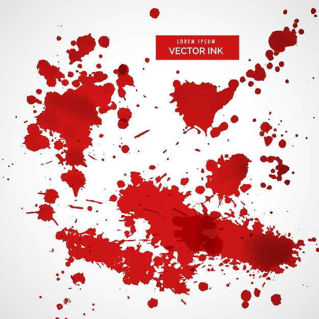Red ink splatter set Free Vector