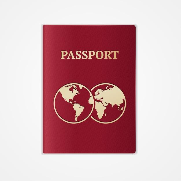 Красный загранпаспорт с картой на белом фоне. Premium векторы