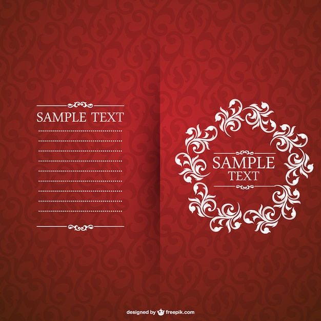 Red invitation with floral frame vector free download red invitation with floral frame free vector stopboris Images