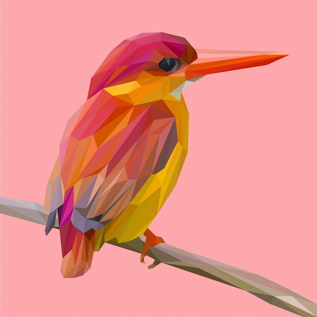 Red kingfisher bird pose on a branch lowpoly vector Premium Vector