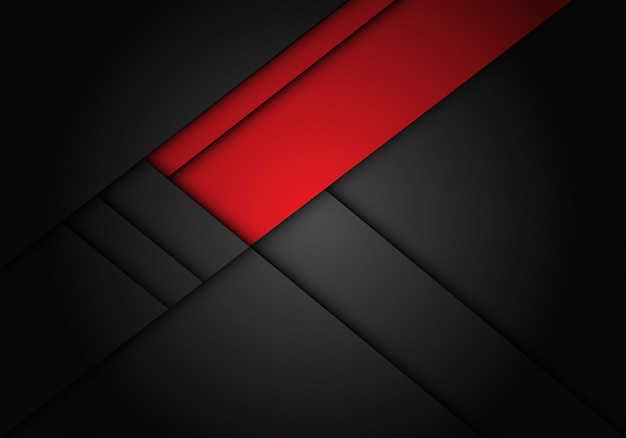 Red label overlap on dark grey metallic background. Premium Vector