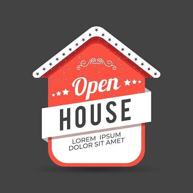 Креативный день открытых дверей red label Бесплатные векторы